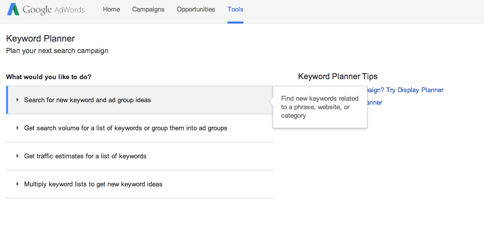 Google Keyword Planner Search For New Keyword
