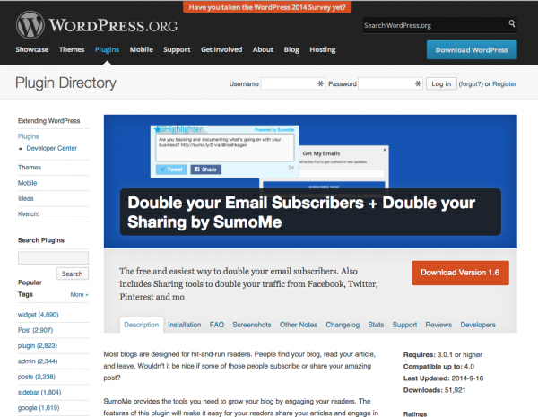Double your Email Subscribers + Double your Sharing by SumoMe plugins